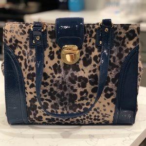 Kate Landry Madison Blue Leopard print purse